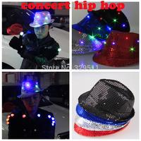 Wholesale Novelty Sprot Hatcolorful LED Light Hat Party Hats Boys and Cap Baseball Caps Fashion Luminous jazz hat 20 pcs/lot