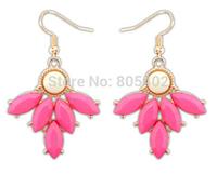 Nepal style retro resin rose  fishhook earring + teardrop beads + Free shipping!