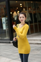 2014 women's curling low round neck shirt and long sections hedging cashmere sweater