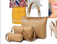2014 New Arrival! HQ Ladies Casual Khaki Tote Handbags Shoulder Hand Bags Messenger Bag with Wristlet Bags Rivet Buy 1 Get 3