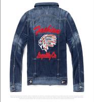 Spring denim jacket men cotton washed denim jean jacket indians pattern denim jacket man stylish navy blue denim coat male