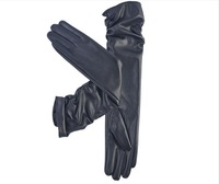 New fashion winter women high quality PU black arm gloves Women's faux leather warm long gloves 50CM free shipping