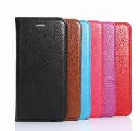 Genuine skin flip leather case stand case pouch for iphone 6