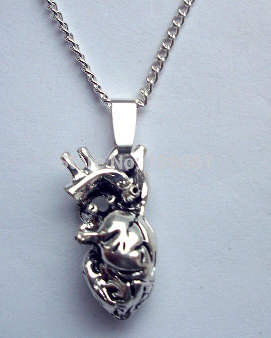 Fashion 5PCS Vintage Silvers Filigree Heart Organ Anatomy Charms Choker Chain Statement Necklace&Pendants DIY Women Jewelry X520(China (Mainland))