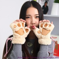 New Arrivals! Wholesale high quality fashion kitten paw gloves, half finger plush bear paw gloves, thick hair gloves