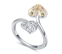 heart leaves Austria swarosiki crystal ring gorgeous gens factory price new arrival Mix wholesale lover's gift