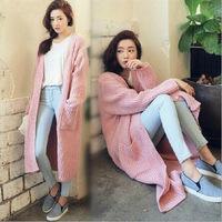 2014 Winter new Korean style  loose sweater coat big yards long sweater cardigan Women