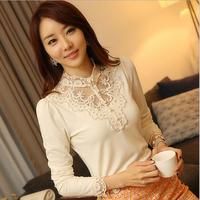 2014 new fashion crochet slim sleeve shirt women chiffon blouse femininas blusas feminina camisas roupas blouses tops