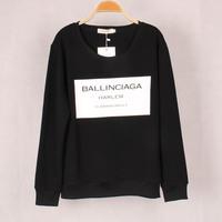 Free shipping ballinciaga print long sleeve O neck men's women's unsex pullover sweatshirt
