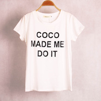 Free shipping co letters printed stretch modal o neck short sleeve women's fashion tee T shirt