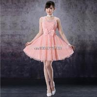 Free shipping customer made A-Line Sweetheart Sleeveless Chiffon Short/Mini Pink Bridesmaid Dresses