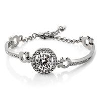 Round Swiss Cubic Zirconia Bracelets Hearts & Arrows Perfect Cut 3.5 Carat CZ Bracelet Bangle Jewelry