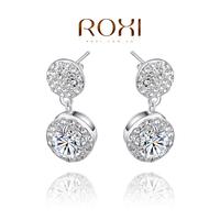 ROXI Free Shipping Gift luxury Statement Earrings,platinum plated AAA CZ diamond handmade 3 fcarat Fashion Jewelry,2020044795