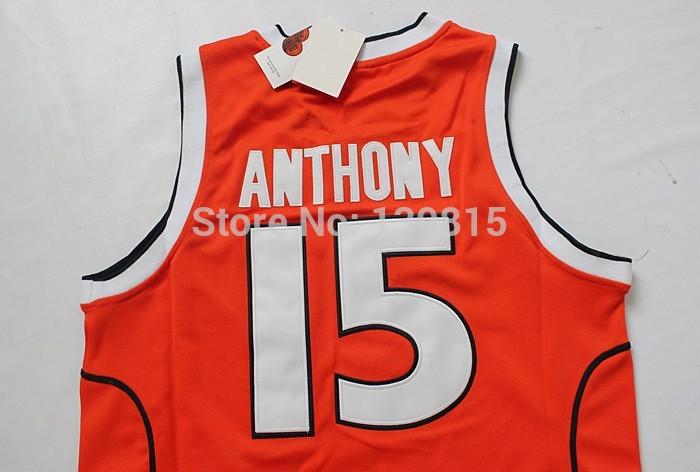 Carmelo Anthony SYRACUSE Jersey, Syracuse #15 Carmelo Anthony Jersey Embroidered - Orange, Size S-XXL, Free Shipping(China (Mainland))