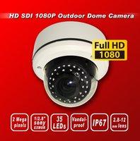 Free shipping HD SDI 1080P 1/2.8''Sony Exmor Sensor security camera 35IR 2M 2.8-12MM Lens Vandal-proof Outdoor dome camera white