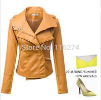 2014 Cheap Black PU Leather Women Jacket Hot Sale Locomotive Suit Long Sleeves Autumn Jackets In Stock MYK016