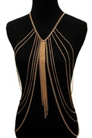 Retail B488  fashion alloy  harness metal body chains jewelry long necklace
