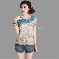 2014 Summer New Women's T-shirt National Wind Short-sleeved Women Blouse O-Neck Chiffon Embroidered Pankou Female T-shirts