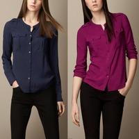 2014 Hot Sale New Long-Sleeve Shirt Female cotton Women's Blouse Solid Color Blusa 4 color Bluse Camisa Femininas Woman Shirt