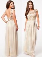 2014 Hot Sell Women Summer Sleeveless White Top Crochet Sexy lace patchwork chiffon Maxi Dress