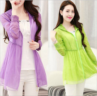 2014 Summer New Korean Version Women's Jacket Transparent Ultra-thin Breathable Long sleeve Cardigan UV Sunscreen Clothing Women