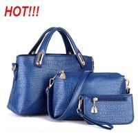 Hot!!!Crocodile Genuine Leather Women Handbag Classic Shoulder Bags Lady's Vintage Messenger Bags Clutch Wallet Purse 3Pcs/Lot