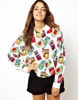 2014 New Women Plus Size Chiffon Blouses Lady Character Long Sleeve Shirt Woman Novelty Blouse Clothing S M L Hot