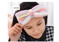Free Shipping washing face big bowknot head hair band elastic wide-brimmed hoop