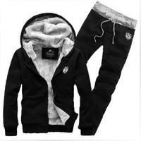 Hot Sale 2014 Newest Style Autumn And Winter Mens Hoodies Suit Fleece Man Causal Sport Set Black\Blue\Gray Wholesale RY0388