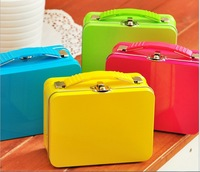 W272 new fashion candy color portable storage tin with locking storage box  trumpet