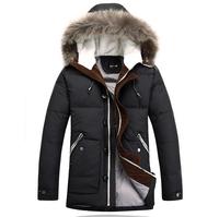 2014 Winter Men'S Long Design Down Jackets Coats Thick Warm Fur Collar Hooded Jacket For Men 95% White Goose Down 4XL XG50-199