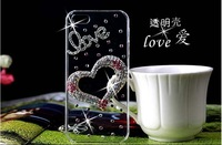 2014 New Rhinestone Diamond Case Back Cover Skin Case Transparent Protector Case For iPhone 3 3G 3GS ,Free Shipping