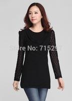lace puff sleeves big size round neck basic t shirt spring autumn plus size loose slim elegant cotton tshirt female blouse C549