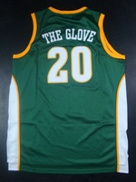 FAST  shipping  embroidery jersey Gary Payton Seattle 20# Soul  Nickname Jersey - Green  payton nick name THE GLOVE  jersey