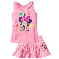 2014 New Summer Children's Clothing For Girls  Cartoon Piece Sleeveless T + Skirt Suit  K6118