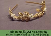 ZH0981 Fashion New 2014 women  Brand metal leaves pearl matte gold Colour headband hair jewelry
