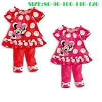 2014 New Baby Girls Clothing Set Minnie Cartoon Style Short Sleeve O-Neck Dot Skirt + Pants 2 Pcs Suits Kid Clothes K4076