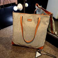 2014 women handbag fashion patchwork shoulder bag designed casual big bag pu leather+linen high quality bag free shipping