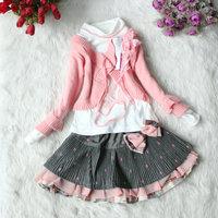 Brand New Children Baby Girls Cardigan Bow Decor Clothing Wool Skirt Set 3pcs Free Shipping Z027