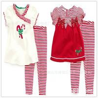 2014 New Arrival Children Clothing Girl Suit Short Sleeve Heart Print Girl Set Summer K6297