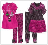 New Brand Child Girl Suit Short Sleeve  T shirt Long Pants Girls Suits Children Clothing K6202
