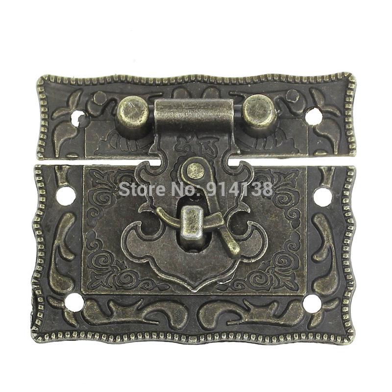 Free Shipping 5Sets Jewelry Box Hasp Latch Lock Decorative Hasp Antique Bronze Pattern Carved 5.1cm x 2.9cm 5.1cm x 3.5cm B01202(China (Mainland))