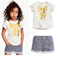 European and American Children Clothing Baby Girls Suit Bow Striped Short Sleeve T Shirt Short Pants 2pcs Free Shipping K3002