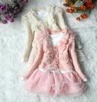 Baby Girls Long Sleeve Lace Hem Dress Warm Coat Flower Decor 2pcs Set Dress Suits Free Shipping Z050