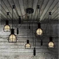 E27*6 puller pendant lamp chandelier,retro/ RH style / LOFT/ village 220V 110V input ,free shipping