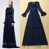 Top Quality!New Hot Europe American Apparel 2014 Autumn Women Flare Long Sleeve Ruffle Floor Length Long Dress Maxi Longo Dress