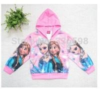 2014 new style children's hoodies Sweatshirts Winter clothing elsa anna FROZEN berber Fleece fabric Kids Girls thicken coat