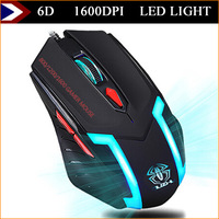 New 1600 DPI 6D Buttons Gaming Mouse Mice Optical LED Light Mouse Gamer Computer Mouse Wired For Desktop Laptop Free Shipping