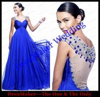 WLF227 Cap Sleeves Sexy Transparent Back Royal Blue High Waist Evening Dresses Long Girls Formal Prom Vestidos de noiva
