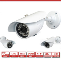 High Quality  Color CMOS 1200TVL  Bullet Camera with 24 IR Leds CCTV Security Camera